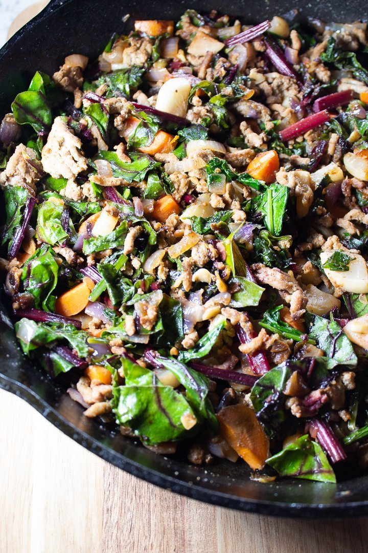 One-Pan Ground Turkey Hash in a cast iron skillet close up