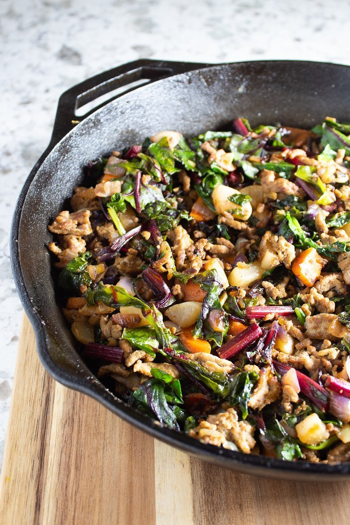 One-Pan Ground Turkey Hash in a cast iron skillet