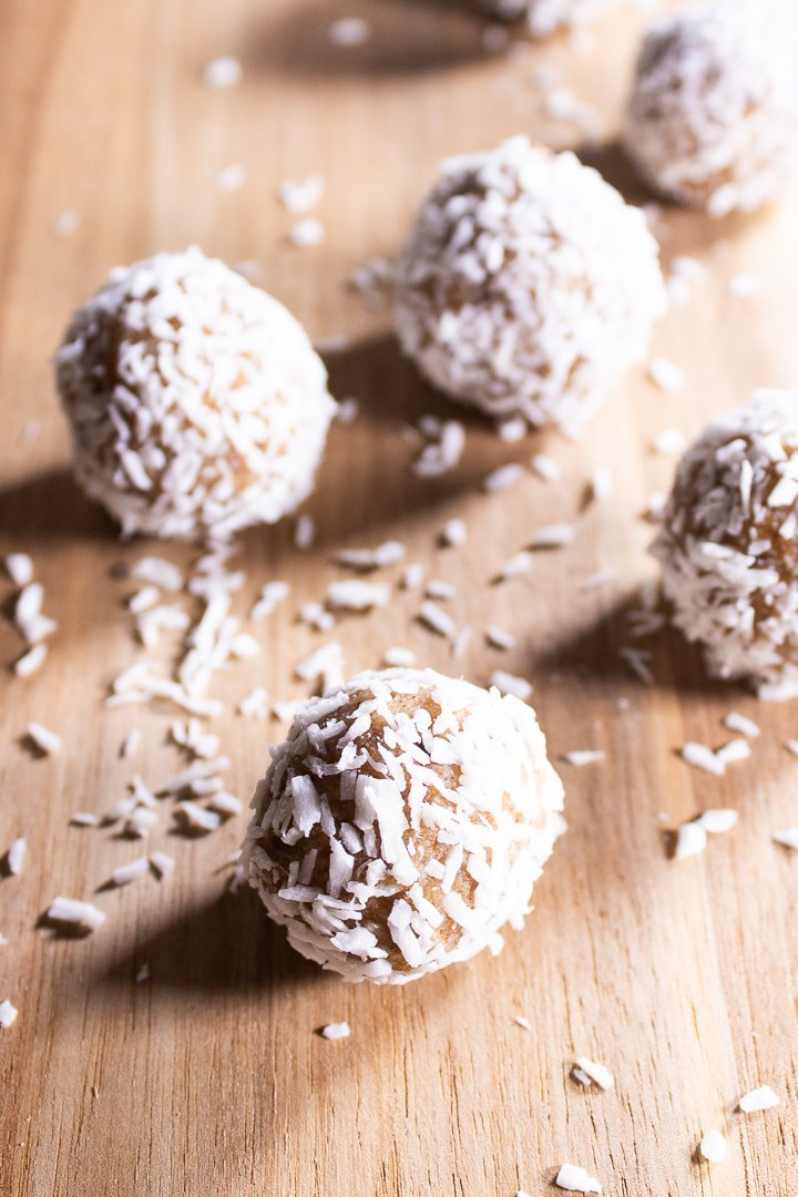 Close up of Coconut Collagen Bliss Balls.