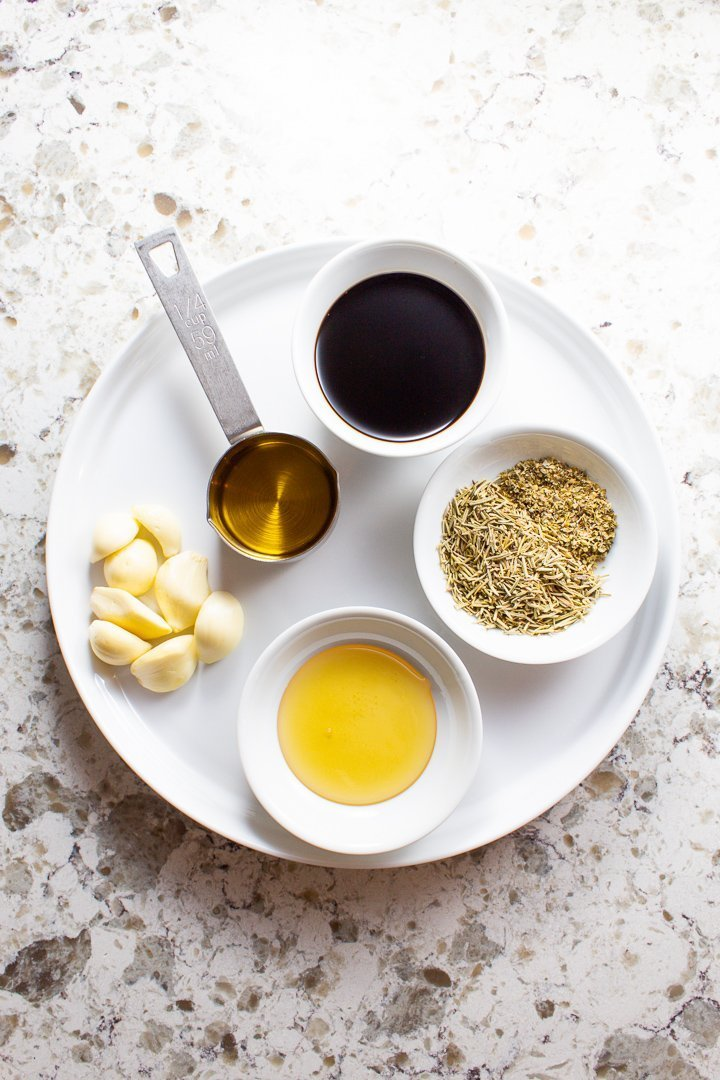 AIP Balsamic Rosemary Sauce ingredients on a plate