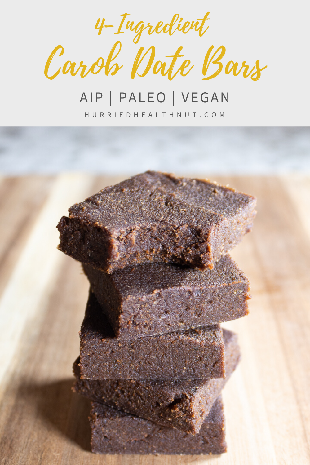 These Carob Date Bars require just FOUR ingredients and NO baking! Kick your chocolate craving to the curb with these healthy AIP, paleo and vegan treats!