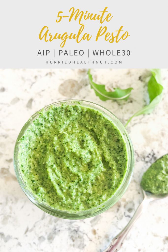 This easy-peasy Arugula Pesto is Paleo, Whole30 and AIP friendly, and can be used to take just about any simple home-cooked meal up a notch - from pasta, to fish, chicken, roasted veggies or salad, and everywhere in between. #arugula #spring #pesto #aip #nutfree #dairyfree #5minutes