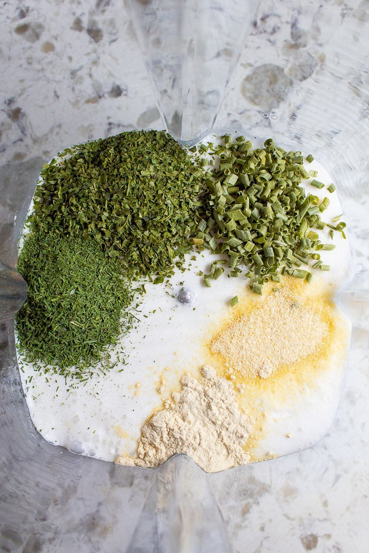 AIP ranch dressing ingredients in a blender.