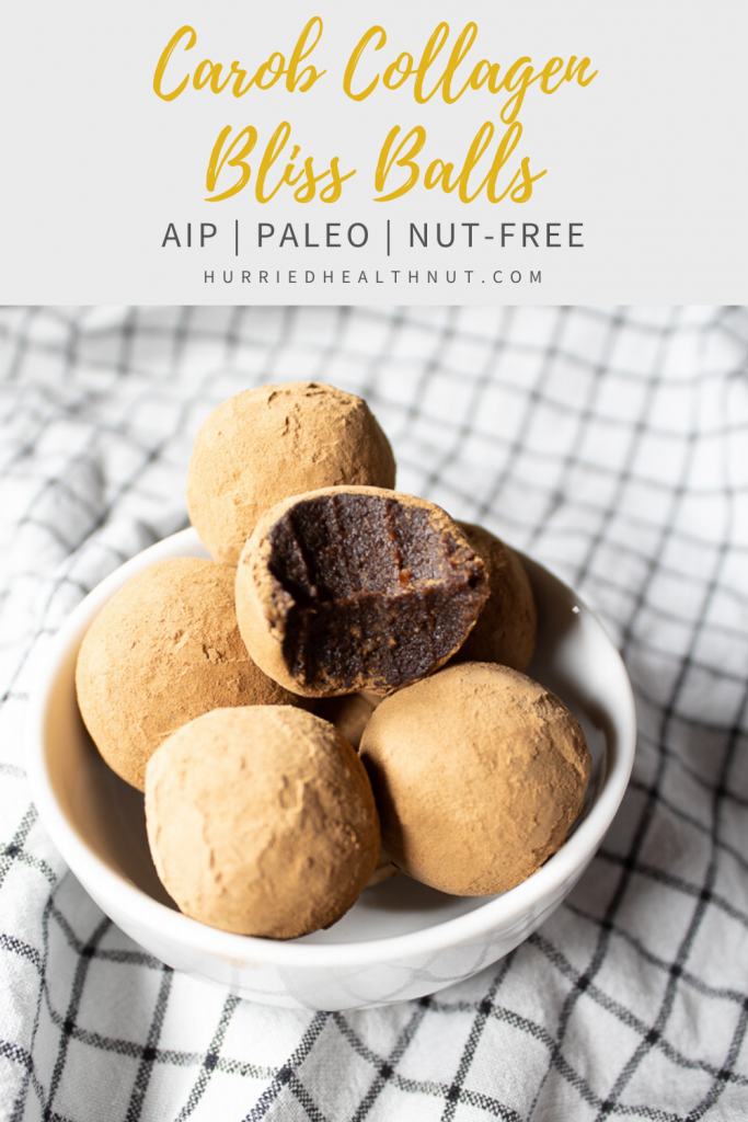 Make these Carob Collagen Bliss Balls for a quick and easy AIP, Paleo, nut-free treat for a crowd, or keep them all for yourself! Packed with antioxidants, fiber and collagen for a gut-loving treat!   Hurriedhealthnut.com #blissballs #collagen #carob #aiptreat #nutfree