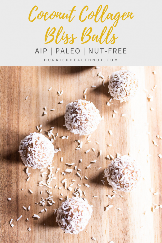 These Coconut Collagen Bliss Balls are not only delicious, they're also Paleo, AIP-friendly and nut-free! And packed with collagen and fiber for a heavenly healthy treat! #collagen #nutfree #blissballs #aip #paleo