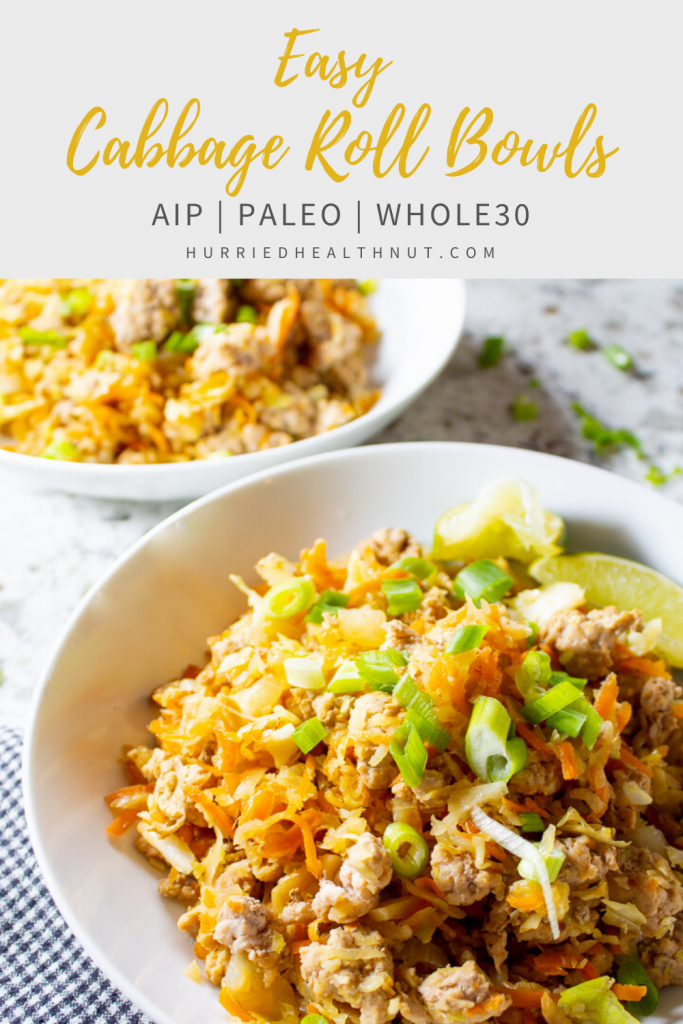 These Easy Cabbage Roll Bowls (AIP, Paleo, Whole30) pack all the flavor of traditional cabbage rolls, without the gluten, grains, eggs or nightshades - or the time commitment! They're also AIP, Paleo and Whole30 compliant, so you can feel good about what you're eating. And they store well for great leftovers for tomorrow's lunch! #aip #paleo #cabbagerolls #easydinner