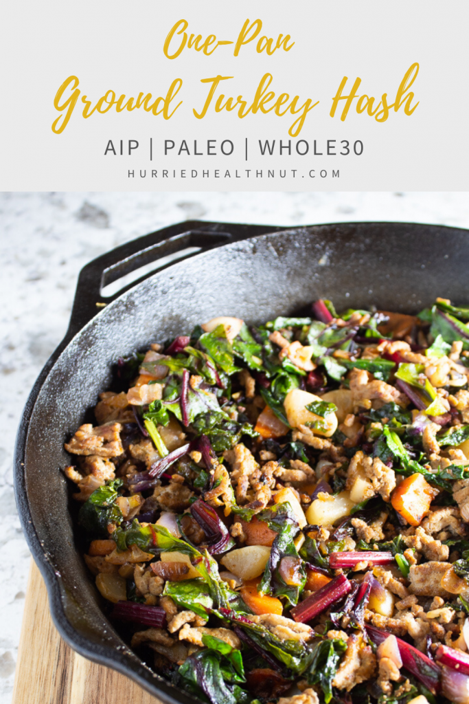 This easy, One-Pan Ground Turkey Hash makes a deliciously satisfying Paleo, Whole30 or AIP breakfast, lunch or dinner. Ready in 30 minutes flat, and makes great leftovers. #onepan #hash #aip #paleo #turkey