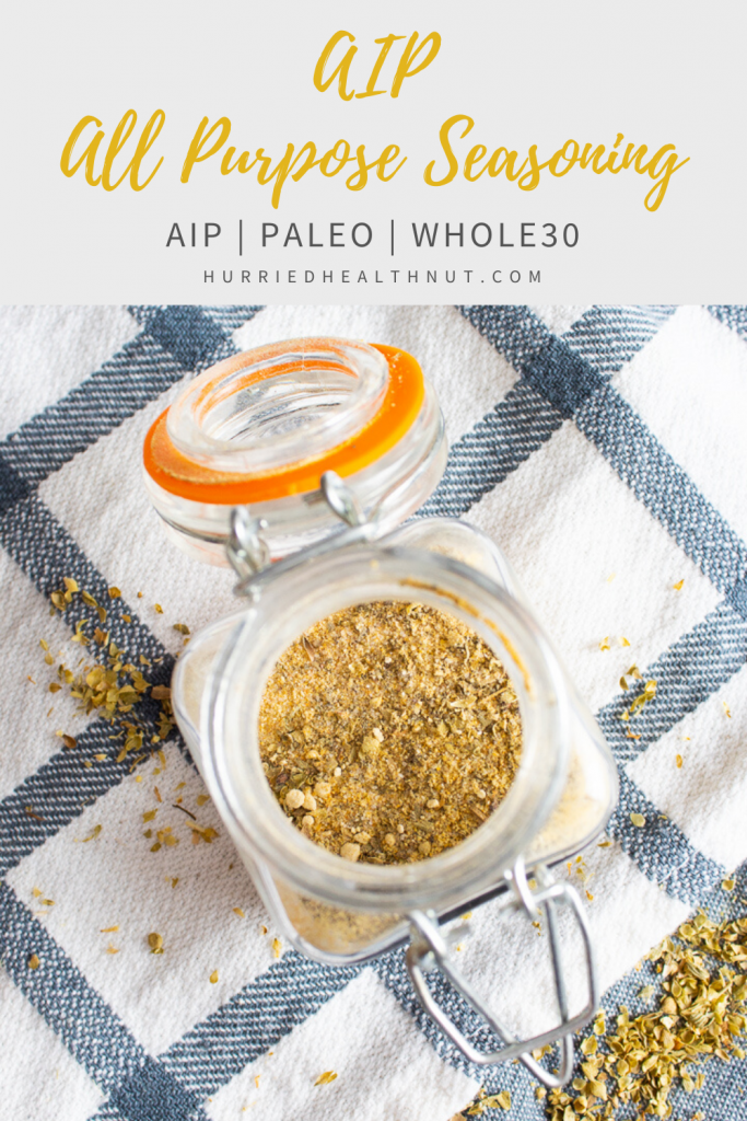 This AIP All Purpose Seasoning is versatile enough to use on almost anything, including roasted veggies, chicken, pork or fish. And it's perfect for the AIP elimination diet, as it's free of nightshades, seed and berry spices and sugar. #aip #allpurposeseasoning #paleo #spiceblend