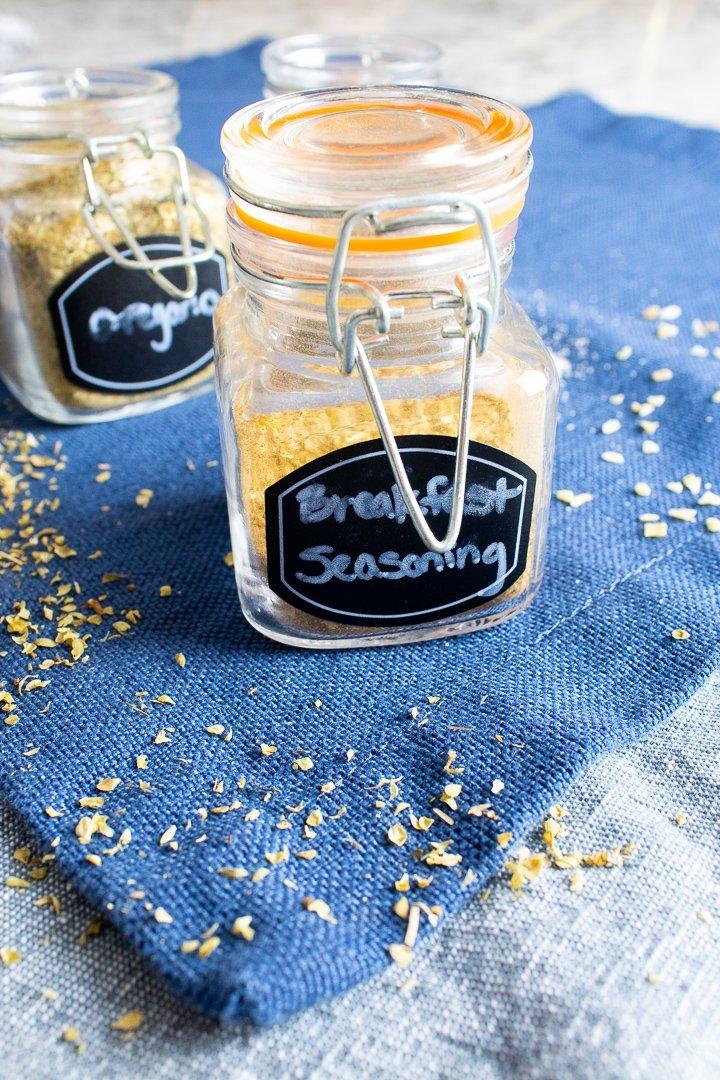 Breakfast seasoning in a spice jar.