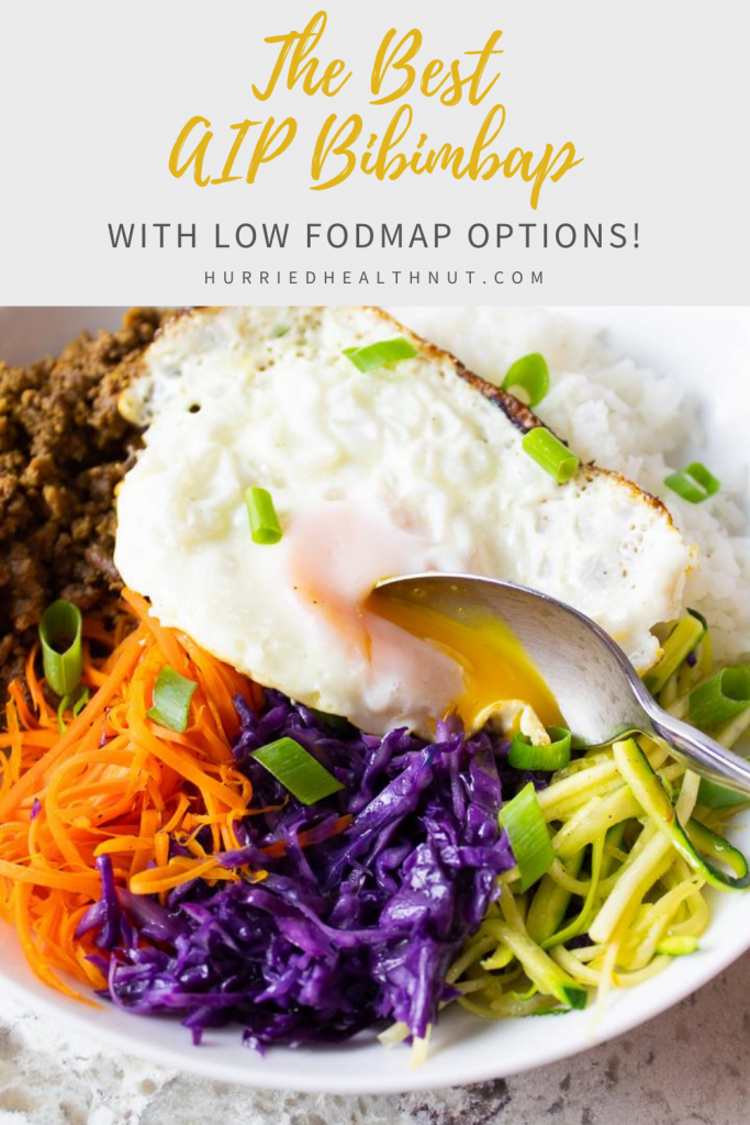 The Best AIP Bibimbap (with Low FODMAP Options!) This AIP Bibimbap is the ultimate easy one-pan meal. A Korean classic made autoimmune friendly. Plus, make it low FODMAP with one simple sub! #aip #bibimbap #bowlmeal #oneskillet #lowfodmap