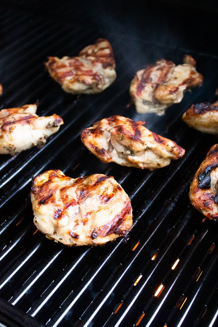 AIP Lemon Basil Grilled Chicken on the grill.