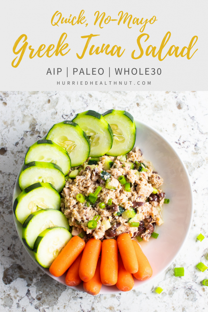 Cucumber, green onions, kalamata olives, capers & lemon juice put a Greek twist on a classic quick and easy lunch! This Greek Tuna Salad is not only mayo-free, it's also AIP, Paleo, Whole30 AND low FODMAP! #tunasalad #greektunasalad #greek #tuna #easylunch #aip #paleo #whole30 #lowfodmap