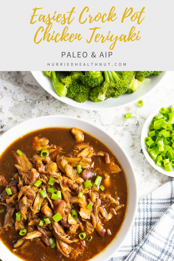 This AIP Crock Pot Chicken Teriyaki is the easiest recipe you'll ever make. Mix the sauce, add to the chicken & let the crock pot do the rest. It even makes enough sauce to drizzle over a side of steamed veggies! #chickenteriyaki #aipteriyaki #aip #paleo