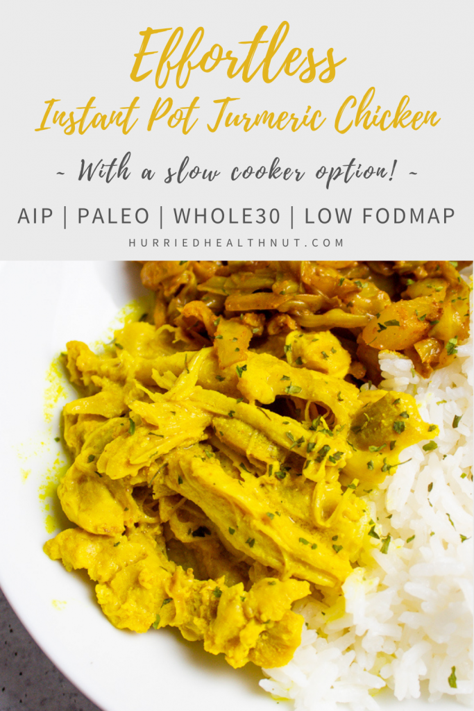 This Instant Pot Turmeric Chicken not only tastes amazing, it requires almost zero effort! Plus, it's AIP, Paleo, Whole30 and low FODMAP! #turmericchicken #instantpot #slowcooker #crockpot #indianfood #aip #paleo #whole30 #lowfodmap