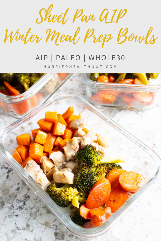 This Sheet Pan AIP Winter Meal Prep is perfect for easy AIP meal prep bowls, or if you just want a quick and easy weeknight sheet pan dinner! Just chop your veggies and chicken, shake up a quick balsamic sauce and roast away! This super simple recipe has a minimal number of ingredients, but is big on taste! #aip #paleo #mealprep #sheetpandinner #winter #veggies #chicken #balsamic