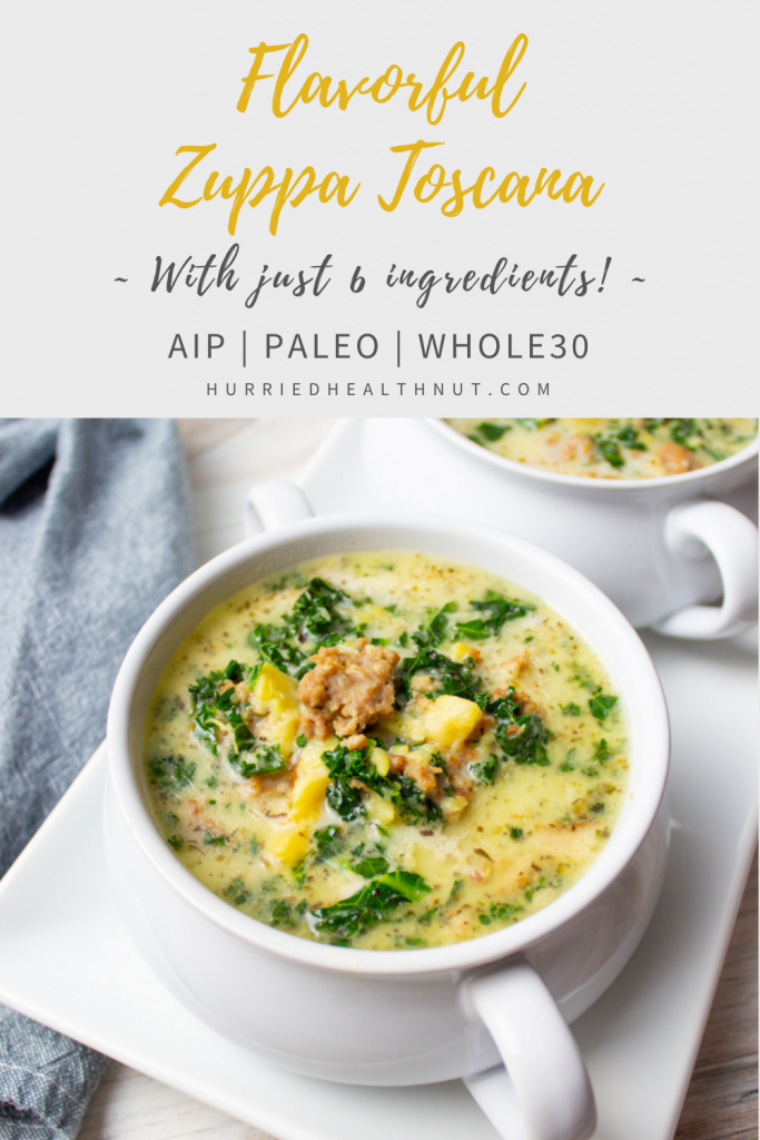 This AIP Zuppa Toscana requires just 6 ingredients and cooks up quick in the Instant Pot for a weeknight AIP or Paleo friendly meal that will blow your socks off. #aip #zuppatoscana #sausagekalesoup #paleo #instantpotrecipe #6ingredients