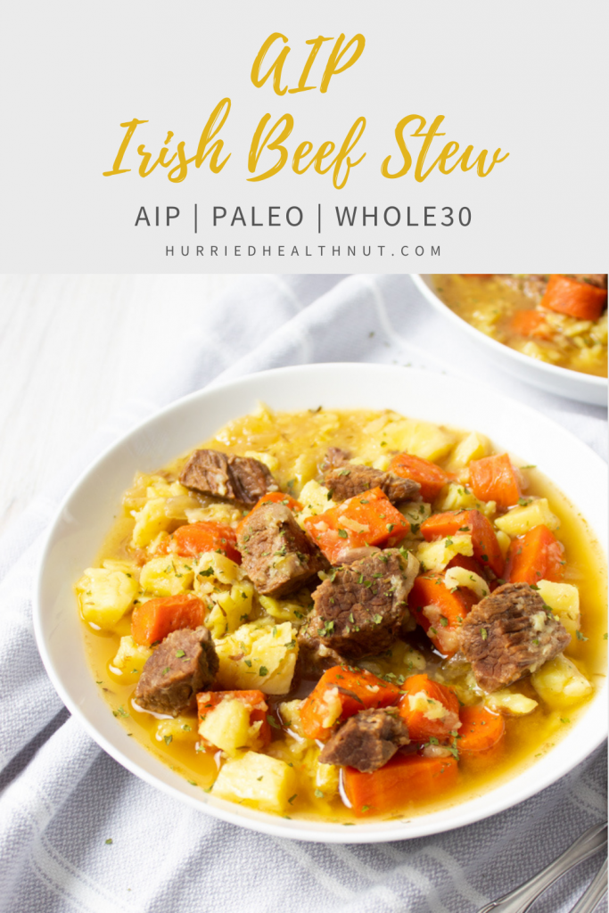 This AIP Irish Beef Stew is perfect for an autoimmune-friendly Saint Patrick's Day celebration, or for any day of the year! And the Instant Pot makes it mostly hands-off, so you can take the time to relax with friends and family, or seize the opportunity to try your hand at making some AIP Irish soda bread. #aip #irishstew #irishbeefstew #paleo #stpatricksday