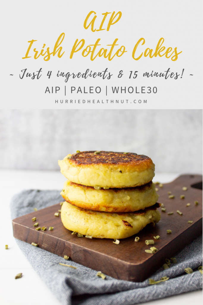 Celebrate Saint Patrick's Day (or any day, really) with these 15-Minute AIP Irish [Sweet] Potato Cakes! Savory, crispy outside with a luscious, creamy center. And they only require 4 ingredients! #aip #saintpatricks #stpaddysday #potatocakes #sweetpotatocakes #irishpotatocakes #paleo #whole30